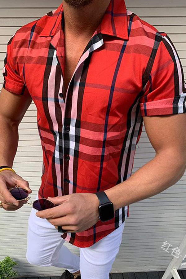 Lovely Casual Short Sleeve Plaid Red Shirt
