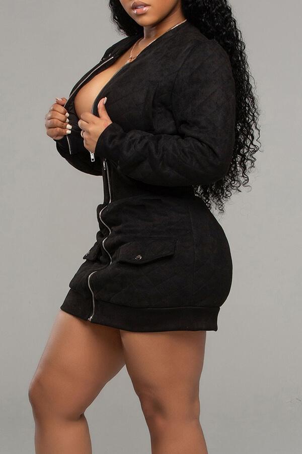 Lovely Casual Zipper Design Black Two-piece Skirt Set