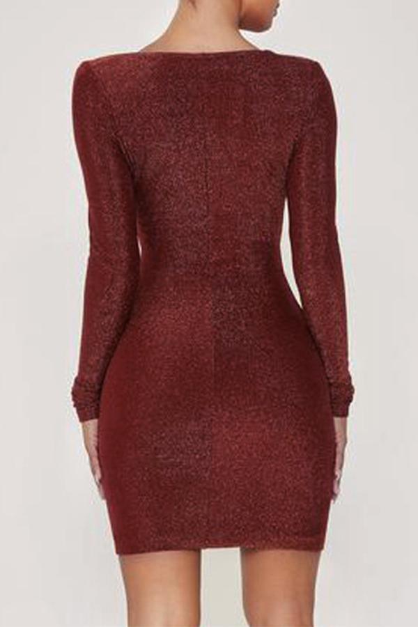 Lovely Chic V Neck Cross-over Design Wine Red Mini Dress