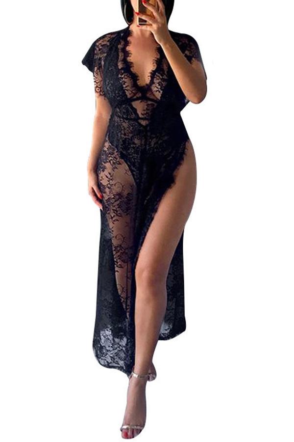 Lovely Sexy Lace Side High Slit Black Babydolls
