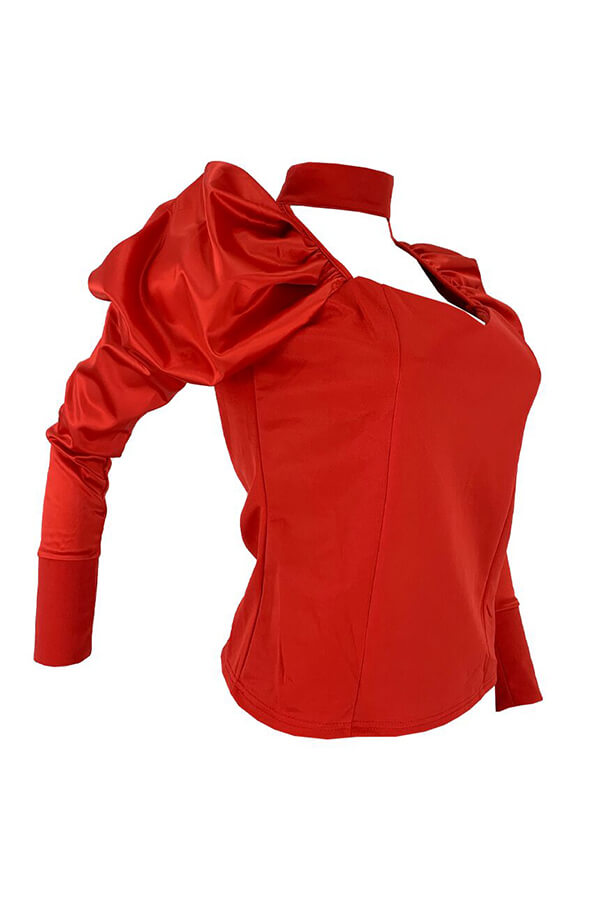 Lovely Casual V Neck Ruffle Design Red Blouse