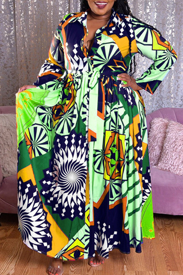 Lovely Casual Print Green Plus Size Maxi Dress