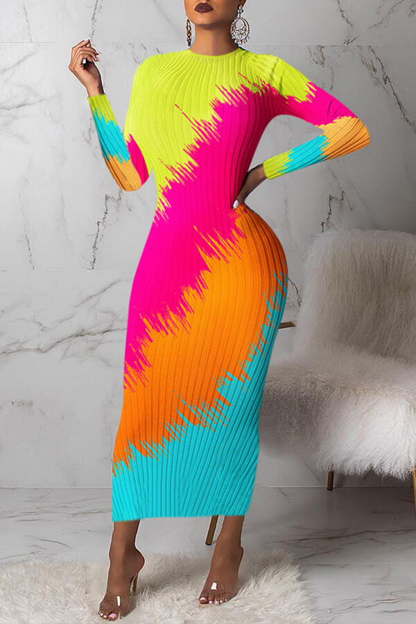 Lovely Casual Color-lump Multicolor Mid Calf Dress