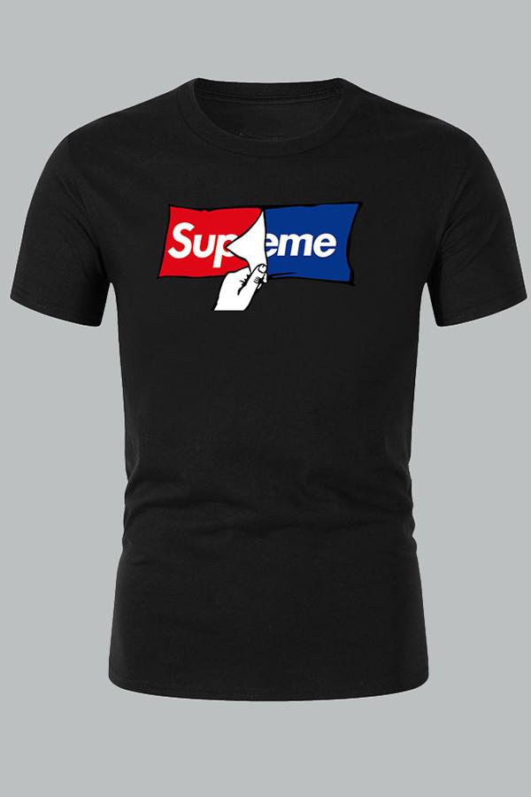 Lovely Casual Letter Black T-shirt