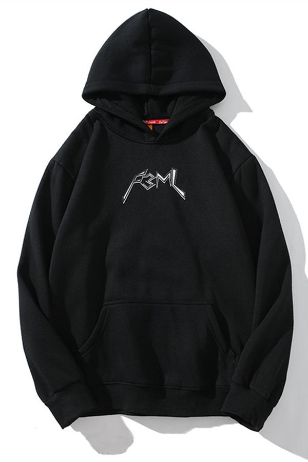 Lovely Street Hooded Collar Print Black Hoodie
