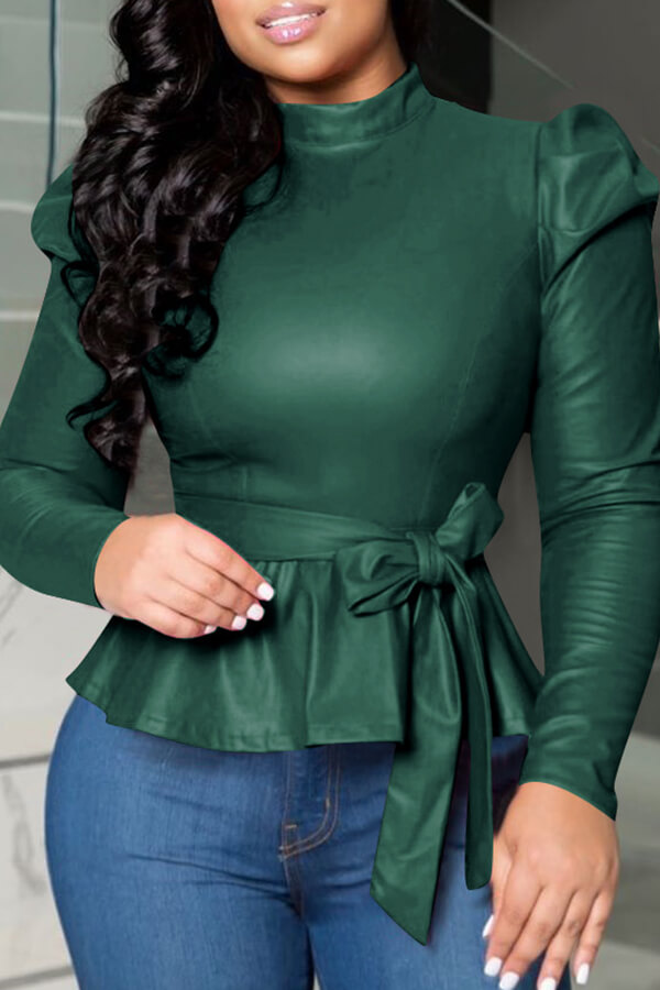 Lovely Trendy Mandarin Collar Lace-up Deep Green Blouse