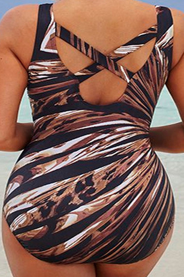 Lovely Chic Print Coffee Plus Size One-piece Swimwear