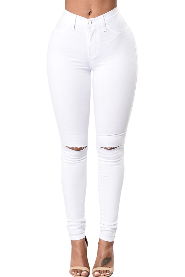 Shop LovelyWholeSale.com - casual hollow-out white jeans