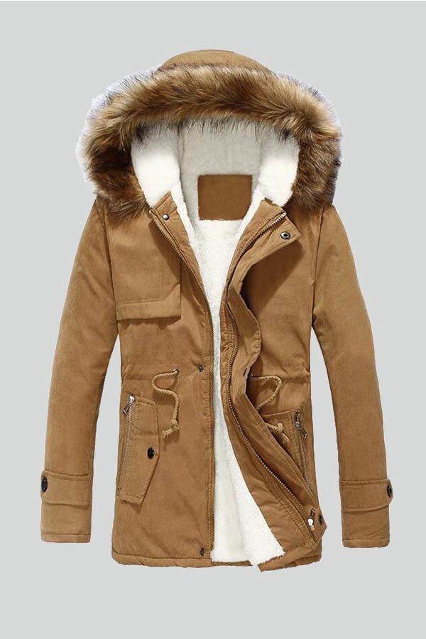 Lovely Winter Hooded Collar Velvet Lining Khaki Cotton-padded Clothe