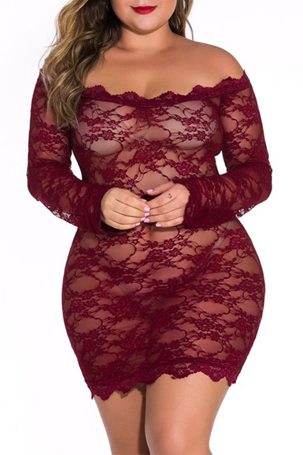 Lovely Sexy See-through Lace Wine Red Babydolls