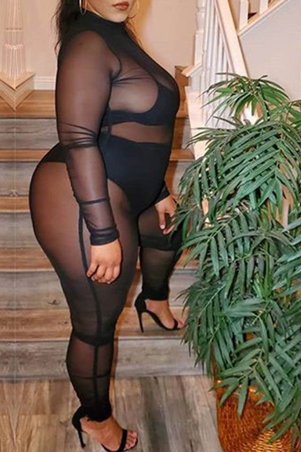 Lovely Sexy See-through Black Plus Size One-piece Jumpsuit