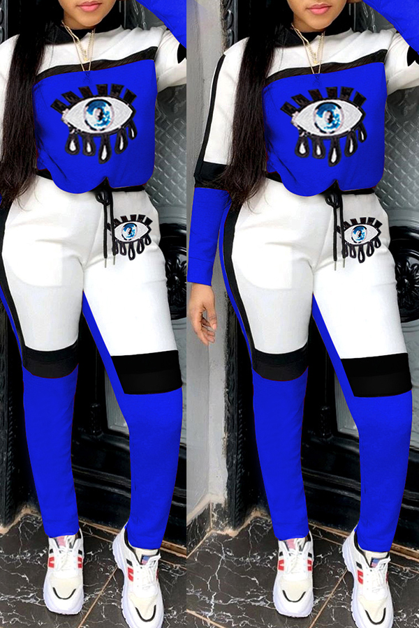 Lovely Casual Eye Patchwork Blue Two-piece Pants Set