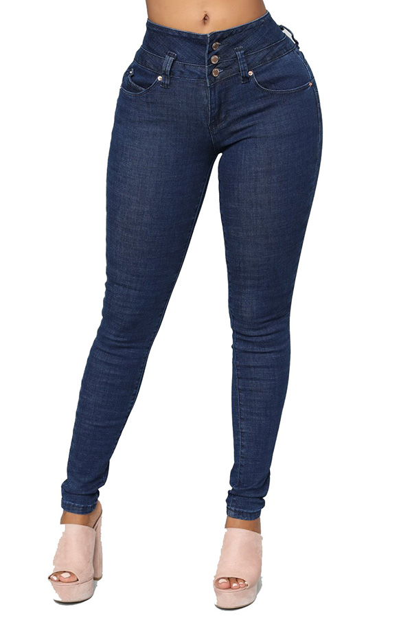 Lovely Casual Buttons Deep Blue Jeans