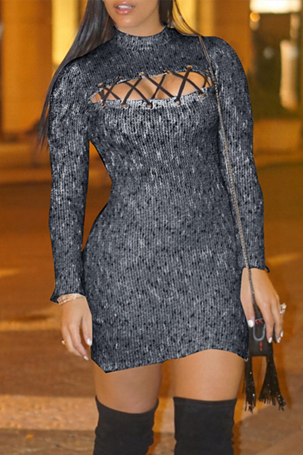 Lovely Sexy Turtleneck Hollow-out Black Mini Dress