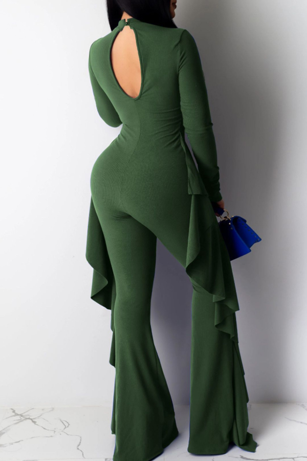 Lovely Leisure Flounce Patchwork Green One-piece Jumpsuit(Without Belt)
