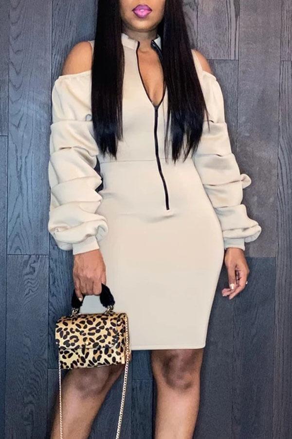Lovely Sweet Zipper Design Apricot Mini Dress