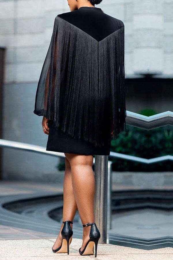 Lovely Party Tassel Design Black Mini Dress