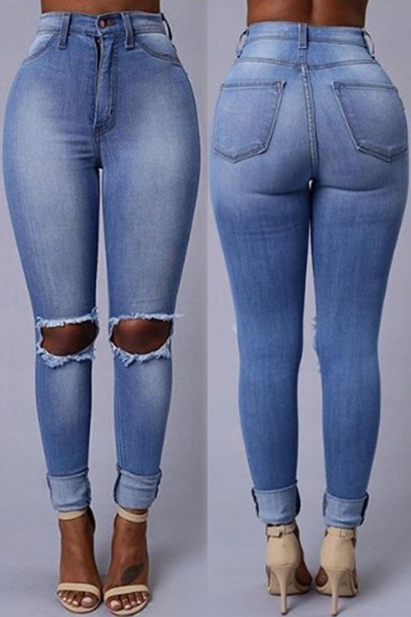 Lovely Casual Hollow-out Baby Blue Jeans