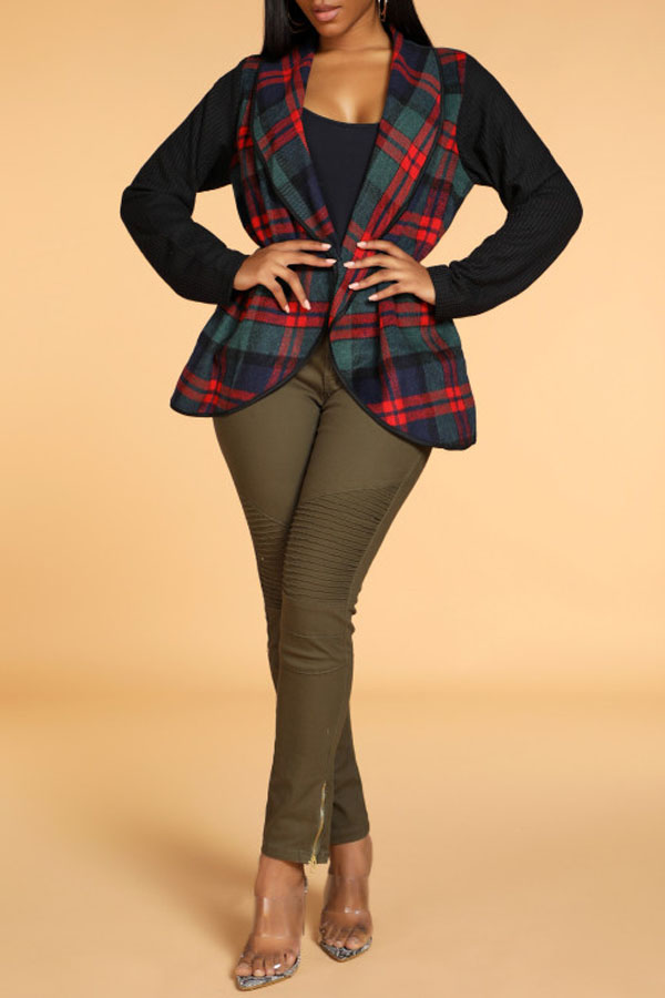 Lovely Casual Plaid Print Green Coat