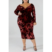 Lovely Sexy V Neck Hollow-out Wine Red Mid Calf Plus Size Dress