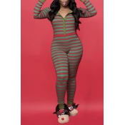 Lovely Christmas Day Striped Green One-piece Jumpsuit