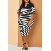 Lovely Casual Striped Black Mid Calf Plus Size Dre