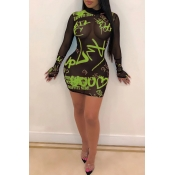 Lovely Sexy See-through Letter Printed Green Mini Dress