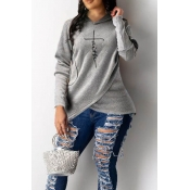 Lovely Trendy Hooded Collar Letter Print Asymmetrical Grey Hoodie