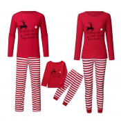 Lovely Family Striped Printed Red Kids Two-piece P