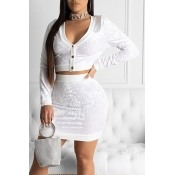 Lovely Casual V Neck Buttons White Two-piece Pants