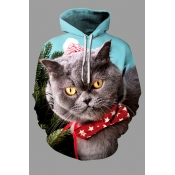 Lovely Christmas Day Cat Printed Multicolor Plus S