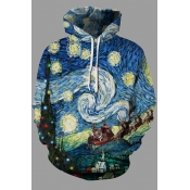 Lovely Chic Hooded Collar Printed Multicolor Plus Size Hoodie