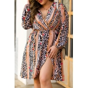 Lovely Casual Printed Multicolor Knee Length Plus