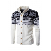 Lovely Christmas Day Buttons Design White Cardigan