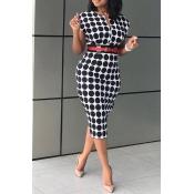 Lovely Work Dot Printed Black Knee Length OL Dress
