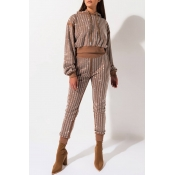 Lovely Trendy Sequined Brown Two-piece Pants Set