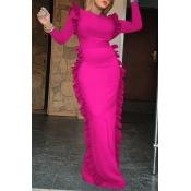Lovely Casual Flounce Design Rose Red Floor Length Dress