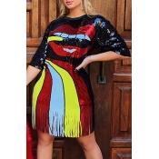 Lovely Casual O Neck Tassel Design Multicolor Knee