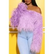 Lovely Casual Dew Shoulder Purple Sweater