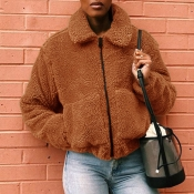 Lovely Casual Basic Zipper Design Deep Camel Coat
