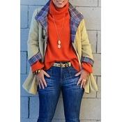 Lovely Casual Ruffle Design Khaki Jacket