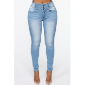 Lovely Casual Buttons Design Baby Blue Jeans