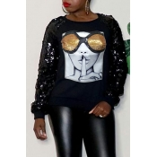 Lovely Casual Sequined Printed Black Sweatshirt Ho