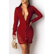 Lovely Trendy Turndown Collar Buttons Design Wine Red Mini Dress