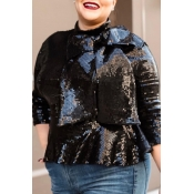 Lovely Casual Sequined Black Plus Size Blouse