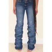 Lovely Trendy Ruffle Design Deep Blue Jeans