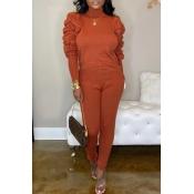 Lovely Sweet Ruffle Design Jacinth Two-piece Pants Set
