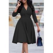 Lovely Leisure V Neck Black Knee Length Dress