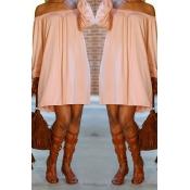 Lovely Casual Dew Shoulder Pink Mini Dress