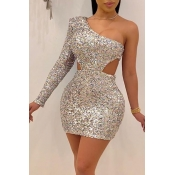 Lovely Party Hollow-out Silver Mini Dress